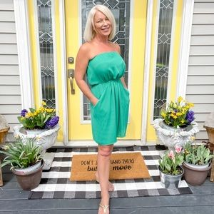 ✈️💕🌴 Kelly Green Strapless Sun Dress - with pockets - S